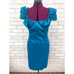 NWT Badgley Mischka Teal Cocktail Party Dress
